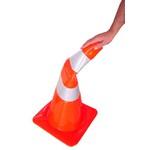 Cone de Borracha Flexivel Laranja e Branco 75cm Kteli