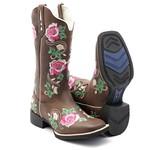 bota texana feminina bico quadrado flores F32