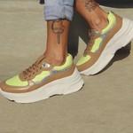 Tênis Sneaker Feminino De Griffe Up Chunky De Couro Conforto Avelã