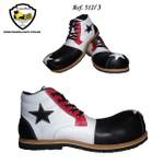 Sapato de Palhaço Infantil Preto/Branco Detalhe em Vermelho com Estrela Ref 512
