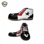 Sapato de Palhaço Infantil Branco/Preto/Vermelho com Estrela Ref 401