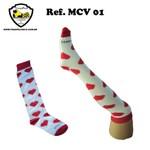 MEIA CORAÇÃO VERMELHA/BRANCO Ref MCV 01