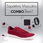 Combo Sapatênis 8569 Vermelho + Relogio/Carteira