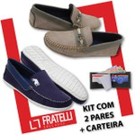 Kit 2 pares mocassim azul +carteira 77