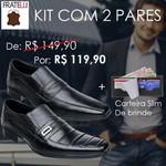 KIT 2 PARES DE SAPATO SOCIAL COURO + Carteira