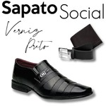 Sapato Social Ref:826Vp Com Carteira E Cinto Preto