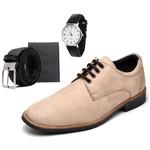 Sapato Social Masculino Esporte Fino Bege com Carteira e Relógio