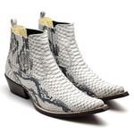 Bota Masculina Texana Premium em Couro Anaconda Branco e Preto