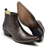 Bota Masculina Texana Premium em Couro Anaconda Nescau