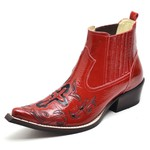 Bota Texana Masculina Premium Verniz Vermelho e Preto