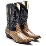 Bota Texana Masculina Luxo Nozes e Preto