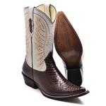 Bota Texana Masculina Luxo Anaconda Café e Marfim