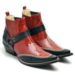 Bota Texana Masculina com Cabresto e Verniz Vermelho e Preto