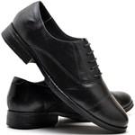 Sapato Social Militar Masculino em Couro Preto