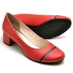 Sapato Peep Toe Feminino Vermelho e Preto