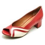 Sapato Feminino Peep Toe Maçã e Off White
