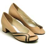 Sapato Feminino Peep Toe Nude e Preto