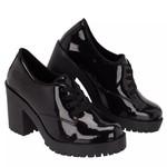 Sapato Social Feminino Oxford Tratorado Preto Verniz
