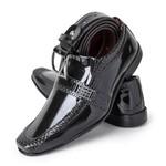 Sapato Social Masculino Com Cinto Verniz Preto