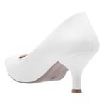 Sapato Feminino Scarpin Salto Baixo Verniz Branco