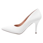 Sapato Feminino Scarpin Salto Médio Verniz Branco