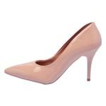 Sapato Feminino Scarpin Salto Médio Verniz Nude