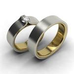Aliança Bodas de Prata com Diamante de 18 Pontos