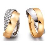 Aliança de Casamento - Ouro Amarelo e Branco com Brilhantes
