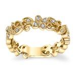 Anel em Ouro Amarelo 18k Flores com Diamantes