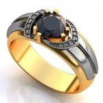 Anel de Formatura com Diamantes e Pedra Natural