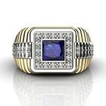 Anel de Formatura em Ouro 18k com Diamantes e Pedra Natural