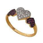Anel Ouro 18k corações cravejados Rubi e Diamantes