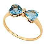 Anel em Ouro Amarelo 18k Laço Topazio e Diamantes