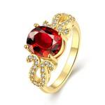 Anel em Ouro Amarelo 18k com Diamantes e Granada