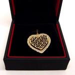 Pingente em Ouro 18k Coração Cravejado Vazado