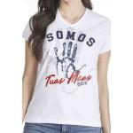 Camiseta Baby Look Somos Tuas Mãos Aplique