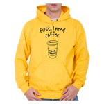 Moletom Unissex First I Need Coffee - Amarelo