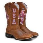 Bota Country Texana Masculina Bico Quadrado Couro Fóssil Mostarda