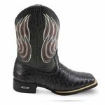 Bota Country Texana Masculina Escamada Bico Quadrado Couro Látego e Fóssil Preto