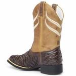 Bota Country Texana Masculina Wafer Bico Quadrado Floater Café e Fóssil Mostarda