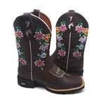 Bota Country Feminina Texana Bico Quadrado Couro Crazy Horse Café Floral