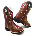 Bota Country Texana Feminina Bico Quadrado Couro Café Flores Promoção