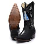 Bota Country Masculina Texana Bico Fino Exótica Arraia Preta e Mustang Preto