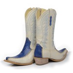 Bota Country Texana Bico Fino Anaconda PB Azul e Floater Marfim