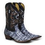 Bota Country Texana Masculina Bico Fino Croco Mármore e Mustang Preto