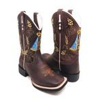 Bota Texana Masculina Country Bico Quadrado Couro Crazy Horse Café