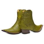 Botina Country Masculina Bico Fino Couro Anaconda Preto e Amarelo