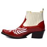 Botina Country Masculina Fenix Couro Verniz Vermelho e Floater Marfim