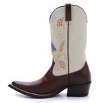 Bota Country Masculina Texana Bico Fino Couro Atlanta Café e Floater Marfim