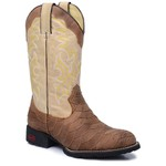 Bota Country Texana Masculina Escamada Couro Crazy Horse Havana e Mustang Marfim